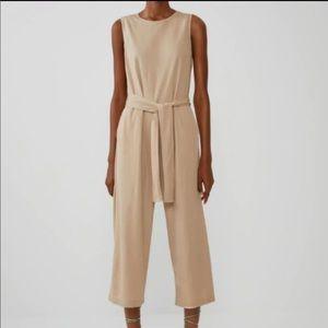 Zara Beige Cropped Belted Jumpsuit